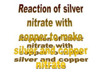 Reaction of silver nitrate with  copper to make silver and copper nitrate