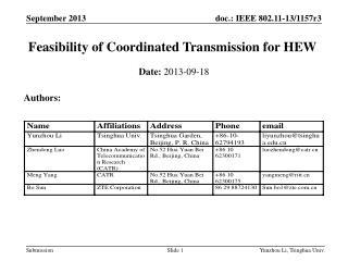 Feasibility of Coordinated Transmission for HEW
