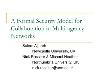 A Formal Security Model for Collaboration in Multi-agency Networks