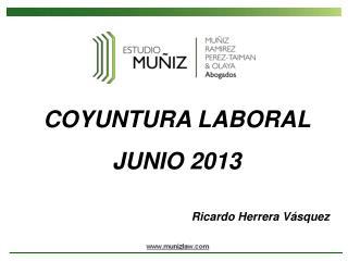 COYUNTURA LABORAL  JUNIO 2013 Ricardo Herrera Vásquez