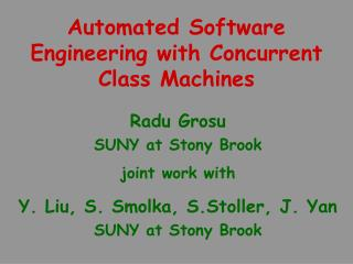 Automated Software Engineering with Concurrent Class Machines