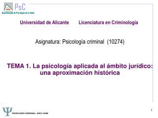 Universidad de Alicante        Licenciatura en Criminología