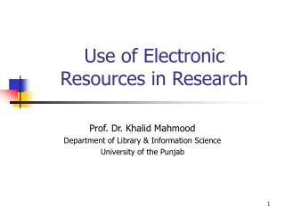 Use of Electronic Resources in Research
