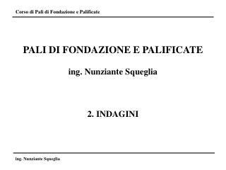 PALI DI FONDAZIONE E PALIFICATE ing. Nunziante Squeglia 2. INDAGINI
