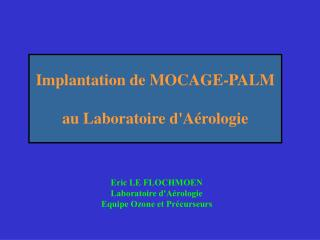 Implantation de MOCAGE-PALM au Laboratoire d'Aérologie