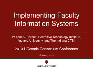 Implementing Faculty Information Systems