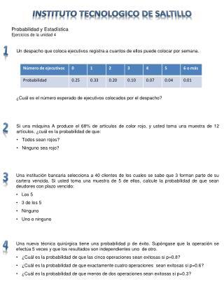 Probabilidad y Estadística  Ejercicios  de la unidad  4