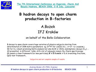 B hadron decays to open charm  production in B-factories
