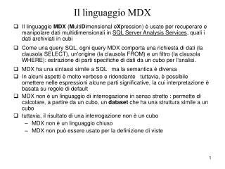 Il linguaggio MDX
