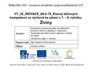 VY_32_INOVACE_09-2-19_Rozvoj kl�?ov�ch kompetenc� ve v�chov? ke zdrav� v 7. - 9. ro?n�ku.
