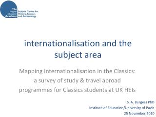 internationalisation and the subject area