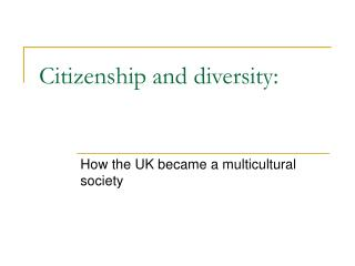 Citizenship and diversity: