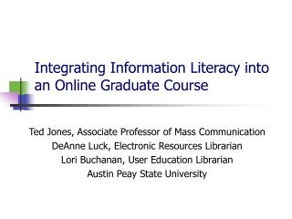 Integrating Information Literacy into an Online Graduate Course