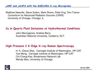 m XRF and  m XAFS with the GSECARS X-ray Microprobe