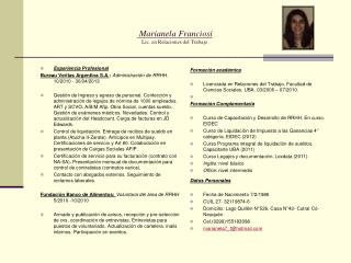 Marianela Franciosi Lic. en Relaciones del Trabajo