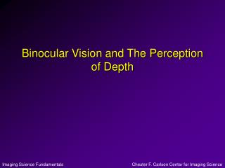 Binocular Vision and The Perception of Depth