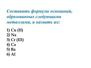 Составить формулы оснований, образованных следующими металлами, и назвать их: 1) Cu (II) 2) Na
