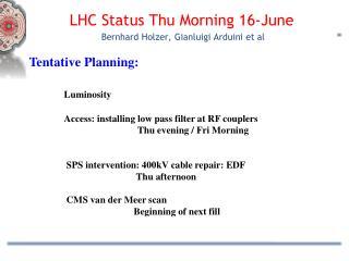 LHC Status  Thu  Morning  16 -June  Bernhard Holzer,  Gianluigi Arduini et al