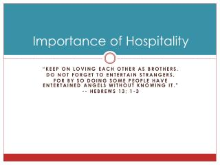 Importance of Hospitality
