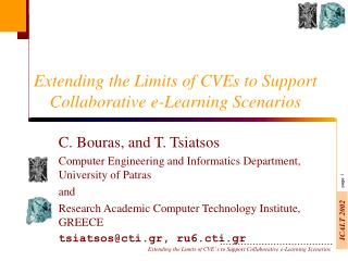 Extending the Limits of CVEs to Support Collaborative e-Learning Scenarios