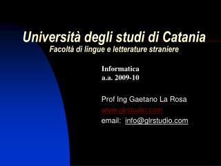 Universit� degli studi di Catania Facolt� di lingue e letterature straniere