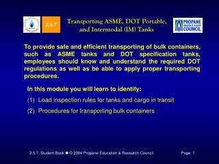 Transporting ASME, DOT Portable, and Intermodal IM Tanks