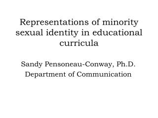 Representations of minority sexual identity in educational curricula