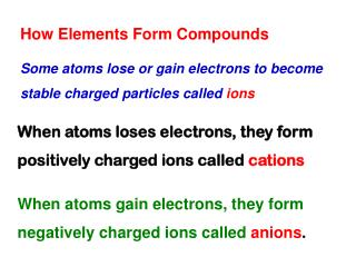 How Elements Form Compounds