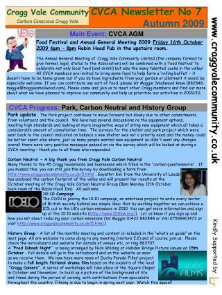 CVCA Newsletter No 7 Autumn 2009
