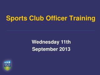 Sports Club Officer Training