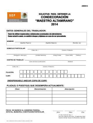 """SOLICITUD  PARA  OBTENER LA CONDECORACIÓN  """"MAESTRO ALTAMIRANO""""   2014"""