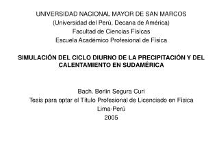 UNIVERSIDAD NACIONAL MAYOR DE SAN MARCOS  (Universidad del Perú, Decana de América)