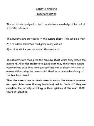 Genetic timeline Teachers notes