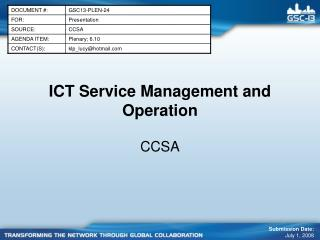 ICT Service Management and Operation