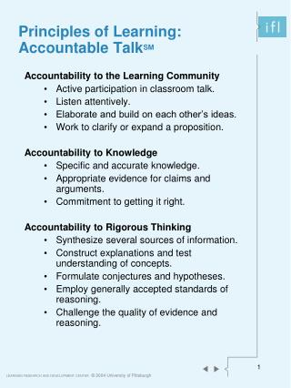 Principles of Learning:  Accountable Talk SM