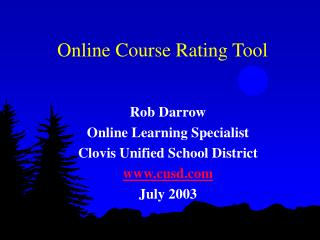 Online Course Rating Tool