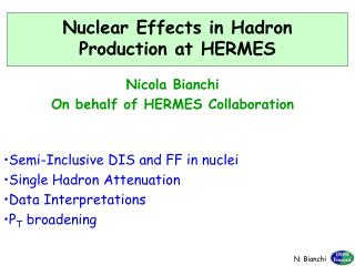 Nuclear Effects in Hadron Production at HERMES