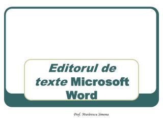Editorul de texte  Microsoft Word
