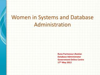 Women in Systems and Database Administration