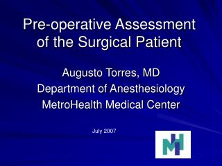 Pre-operative Assessment of the Surgical Patient