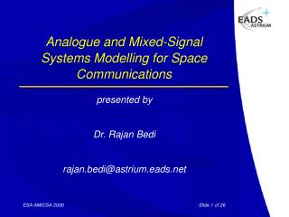 Analogue and  Mixed-Signal  Systems Modelling for Space Communications
