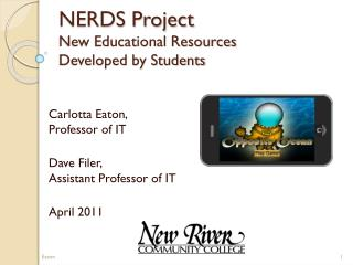 NERDS Project New Educational Resources  Developed by Students