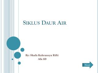 Siklus Daur  Air