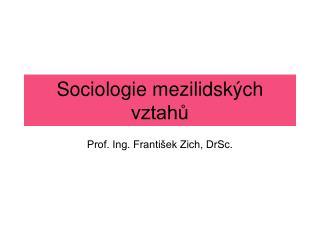 Sociologie mezilidských vztahů