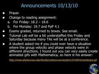 Announcements 10/13/10