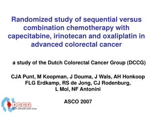 a study of the Dutch Colorectal Cancer Group (DCCG)