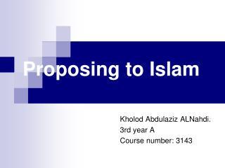 Proposing to Islam