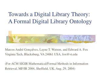 Towards a Digital Library Theory: A Formal Digital Library Ontology