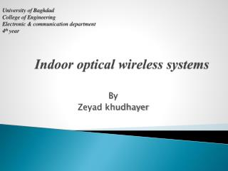 Indoor optical wireless systems