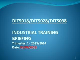 DIT5018/DIT5028/DIT5038 INDUSTRIAL TRAINING  BRIEFING Trimester: 1 - 2013/2014 Date:  05/04/2013